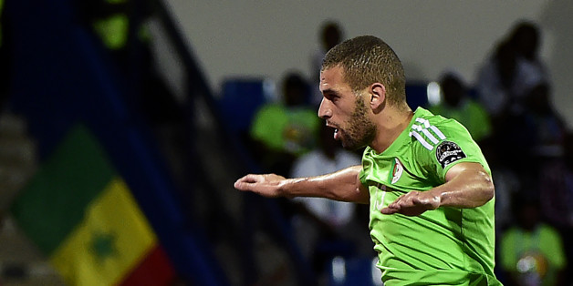 Algeria's forward Islam Slimani celebrates a goal during the 2017 Africa Cup of Nations group B football match between Senegal and Algeria in Franceville on January 23, 2017. / AFP / KHALED DESOUKI        (Photo credit should read KHALED DESOUKI/AFP/Getty Images)
