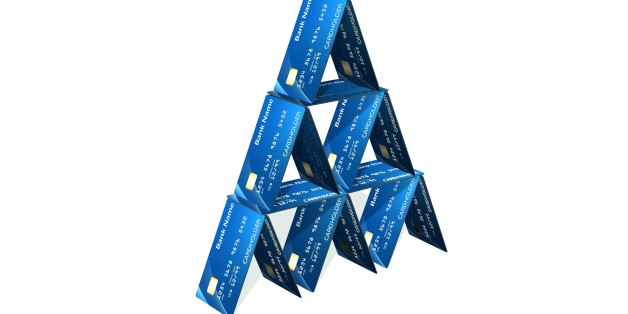 Credit card pyramid isolated on white