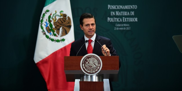 Mexican President Enrique Pena Nieto gives a foreign policy speech after US President Donald Trump vowed to start renegotiating North American trade ties, in Mexico City on January 23, 2017.
