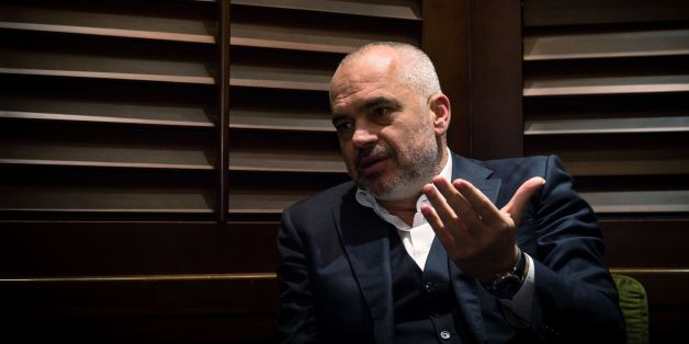Albanian Prime Minister Edi Rama gestures during an interview in Belgrade on October 13, 2016. 