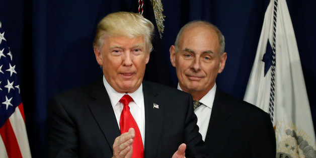 U.S. President Donald Trump applauds after a ceremonial swearing-in for U.S. Homeland Security Secretary John Kelly at Homeland Security headquarters in Washington, U.S., January 25, 2017.  REUTERS/Jonathan Ernst