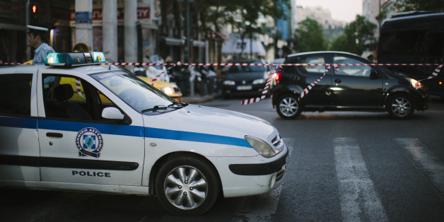 Athens, Greece - July 2, 2015: Police car securing roads because of marches and protests due to the Greek Referendum voting 2015