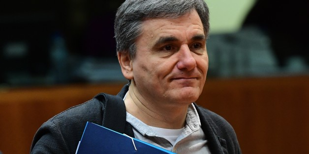 Greece's Finance Minister Euclid Tsakalotos attends an Economic and Financial (ECOFIN) Affairs Council meeting at the European Council, in Brussels, on December 6, 2016.  / AFP / EMMANUEL DUNAND        (Photo credit should read EMMANUEL DUNAND/AFP/Getty Images)