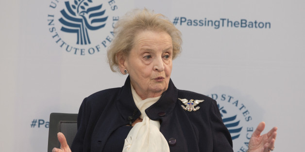 Madeleine Albright, Chair, Albright Stonebridge Group participates in a conference on the transition of the US Presidency from Obama to Trump at the US Institute Of Peace in Washington DC, January 10, 2017. / AFP / CHRIS KLEPONIS        (Photo credit should read CHRIS KLEPONIS/AFP/Getty Images)
