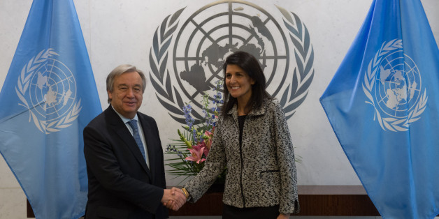United Nations Secretary-General António Guterres shakes hands with new US Ambassador to the United Nations Nikki Haley at the United Nations on January 27, 2017 in New York.  / AFP / Bryan R. Smith        (Photo credit should read BRYAN R. SMITH/AFP/Getty Images)
