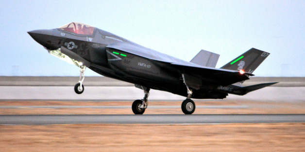 IWAKUNI, JAPAN - JANUARY 18:  (CHINA OUT, SOUTH KOREA OUT) A U.S. Marine F-35B Lightning II jet lands at U.S. Marine Corps Air Station Iwakuni on January 18, 2017 in Iwakuni, Yamaguchi, Japan. It is the first deployment of the advanced stealth jet outside of the continental United States. The aircraft is the first batch of F-35Bs that will be replacing one of the three U.S. Marine F/A-18 Hornet units stationed in Iwakuni. (Photo by The Asahi Shimbun via Getty Images)