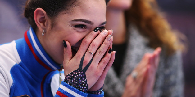 OSTRAVA, CZECH REPUBLIC - JANUARY 27:  Evgenia Medvedeva of Russia reacts at the kiss and cry after competing in the Ladies Free Skating during day 3 of the European Figure Skating Championships at Ostravar Arena on January 27, 2017 in Ostrava, Czech Republic.  (Photo by Joosep Martinson - ISU/ISU via Getty Images)