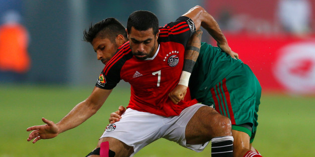 Football Soccer - African Cup of Nations - Quarter Finals - Egypt v Morocco- Stade de Port Gentil - Gabon - 29/1/17. Egypt's Ahmed Fathy and Morocco's Manuel Da Costa in action. REUTERS/Amr Abdallah Dalsh