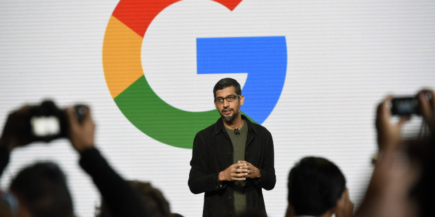 Sundar Pichai, chief executive officer of Google Inc., speaks during a Google product launch event in San Francisco, California, U.S., on Tuesday, Oct. 4, 2016. Google is embarking on a wholesale revamp of its mobile phone strategy, debuting a pair of slick and powerful handsets that for the first time will go head-to-head with Apple Inc.'s iconic iPhone. Photographer: Michael Short/Bloomberg via Getty Images