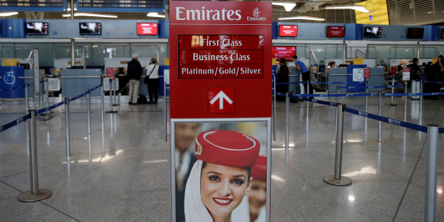 An Emirates Airlines sign indicates the entrance of the check-in area of the Eleftherios Venizelos International Airport in Athens, Greece, May 16, 2016. REUTERS/Alkis Konstantinidis