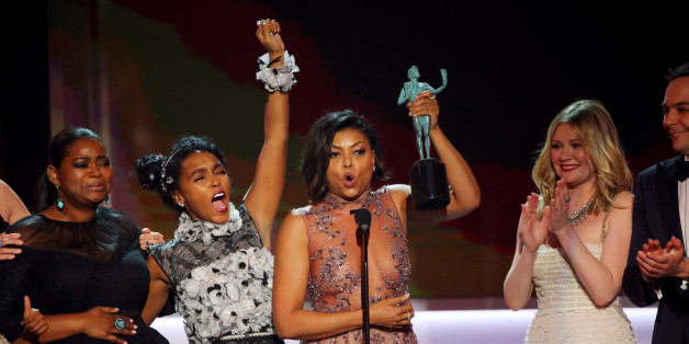 "Octavia Spencer (L), Janelle Monae (2nd L) and Taraji P. Henson accept their award for Cast in a Motion Picture for ""Hidden Figures"" during the 23rd Screen Actors Guild Awards in Los Angeles, California, U.S., January 29, 2017.  REUTERS/Mike Blake     TPX IMAGES OF THE DAY"