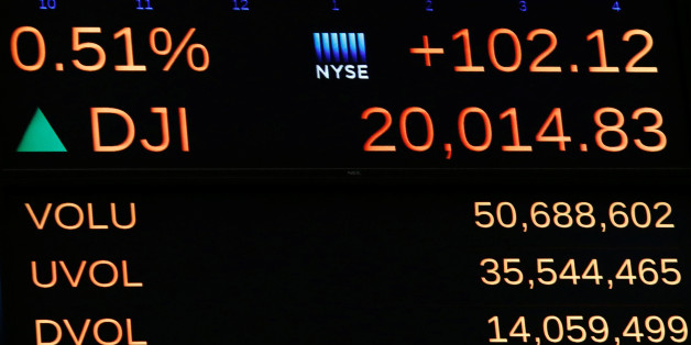A display on the main trading floor of the New York Stock Exchange (NYSE) shows the Dow Jones Industrial Average over the 20,000 mark shortly after the opening of the trading session in New York, U.S., January 25, 2017. REUTERS/Brendan McDermid