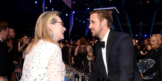 LOS ANGELES, CA - JANUARY 29:  Actors Meryl Streep (L) and Ryan Gosling attend the 23rd Annual Screen Actors Guild Awards Cocktail Reception at The Shrine Expo Hall on January 29, 2017 in Los Angeles, California.  (Photo by Kevork Djansezian/Getty Images)