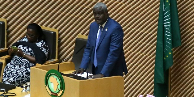 ADDIS ABABA, ETHIOPIA - JANUARY 25: Foreign Minister of Chad Moussa Faki Mahamat delivers a speech during a session ahead of the 28th African Union Summit, in Addis Ababa, Ethiopia on January 25, 2017. (Photo by Minasse Wondimu Hailu/Anadolu Agency/Getty Images)
