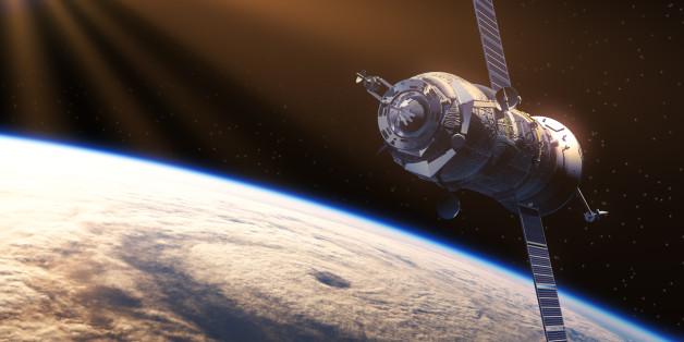 Spacecraft In The Rays Of Sun. 3D Scene.