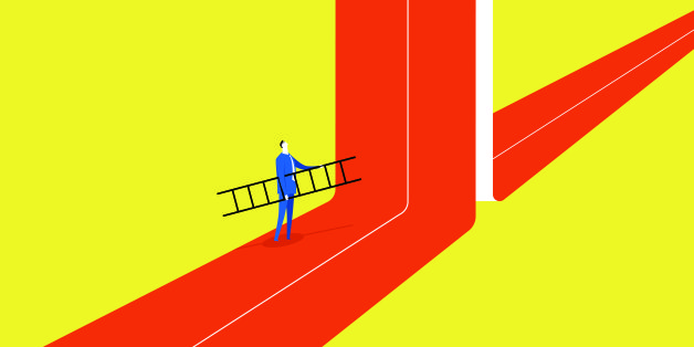 A businessman hold a ladder, he tried to break through barriers to move forward