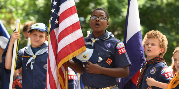 DENVER, CO - JULY 4: Isaiah Watson, middle, Hayden Auger, left, and Noah Shurz, all 9, and members of boy scout troop 286, sing the national anthem before the start of the  7th annual Park Hill Fourth of July parade that went along 23rd avenue on July 4, 2016 in Denver, Colorado. The popular parade started at and ended at Krameria streets. Over 5,000 people attended the parade. (Photo by Helen H. Richardson/The Denver Post via Getty Images)