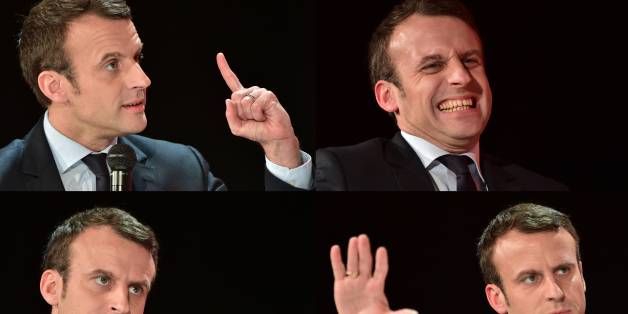 (COMBO) This combination of pictures created on January 31, 2017 shows French presidential election candidate for the En-Marche movement Emmanuel Macron taking part in a debate following a report of the Abbe Pierre Foundation on poor quality housing conditions, on January 31, 2017 in La Defense, near Paris. / AFP / CHRISTOPHE ARCHAMBAULT        (Photo credit should read CHRISTOPHE ARCHAMBAULT/AFP/Getty Images)