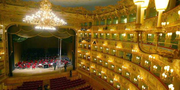 A view of the stage of Venice's La Fenice opera house December 13, 2003. Almost eight years after Venetians watched their beloved opera house burn to the ground, La Fenice is finally ready to live up to its name and rise from its ashes once more.
