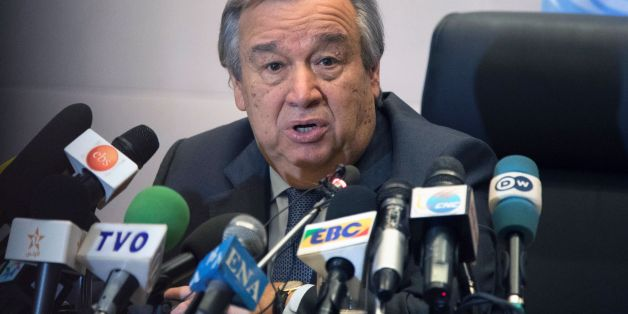 United Nations Secretary General Antonio Guterres gives a press conference on the sidelines of the 28th Ordinary Session of the Assembly of the African Union summit in Addis Ababa on January 30, 2017. African Union leaders met on January 30 for a summit that has exposed regional divisions as they mull whether to allow Morocco to rejoin the bloc, and vote for a new chairperson. The two-day summit in Ethiopia comes after several shake-ups on the international stage: the election of US President Donald Trump and a new head of the UN, Antonio Guterres, who will address the opening of the assembly.  / AFP / ZACHARIAS ABUBEKER        (Photo credit should read ZACHARIAS ABUBEKER/AFP/Getty Images)
