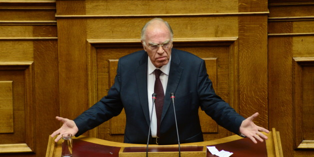 HELLENIC PARLIAMENT, ATHENS, ATTIKI, GREECE - 2016/12/10: Vassilis Leventis, leader of Central Union party during his speech in Hellenic Parliament, concerning the voting of Greece Budget presenting by the government. (Photo by Dimitrios Karvountzis/Pacific Press/LightRocket via Getty Images)