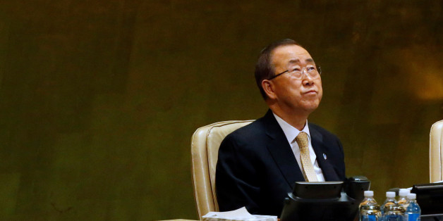 United Nations Secretary General Ban Ki-moon looks up during a tribute to the late King of Thailand Bhumibol Adulyadej in the General Assembly at United Nations headquarters in New York, October 28, 2016. REUTERS/Brendan McDermid