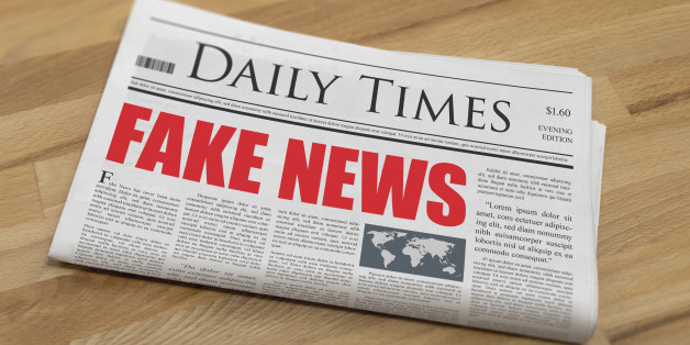 Fake news is the headline on a made up newspaper.