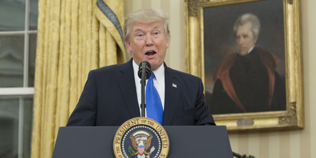 WASHINGTON, DC - FEBRUARY 1:  (AFP OUT) U.S. President Donald Trump, beneath a portrait of populist President Andrew Jackson, speaks before the swearing-in of Rex Tillerson as 69th secretary of state in the Oval Office of the White House on February 1, 2017 in Washington, DC. Tillerson was confirmed by the Senate earlier in the day in a 56-43 vote.  (Photo by Michael Reynolds-Pool/Getty Images)