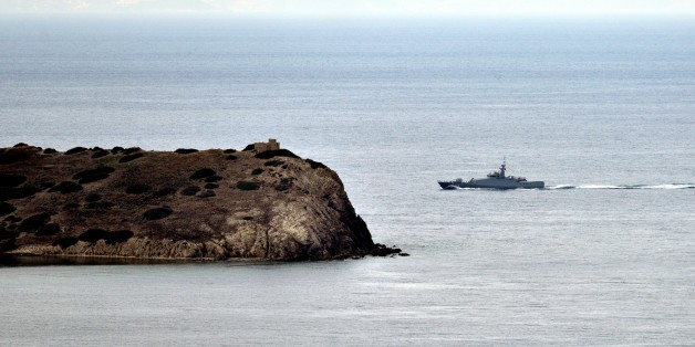 MUGLA, TURKEY - JANUARY 30:  Turkish and Greek coast guard boats patrol around the Kardak islets in the Aegean Sea on the 21st anniversary of Kardak crisis, in Mugla, Turkey on January 30, 2017. Greece and Turkey experienced a military crisis and dispute over the Kardak islands in 1996.   (Photo by Ali Balli/Anadolu Agency/Getty Images)