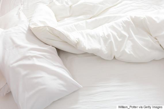 white bed sleeping