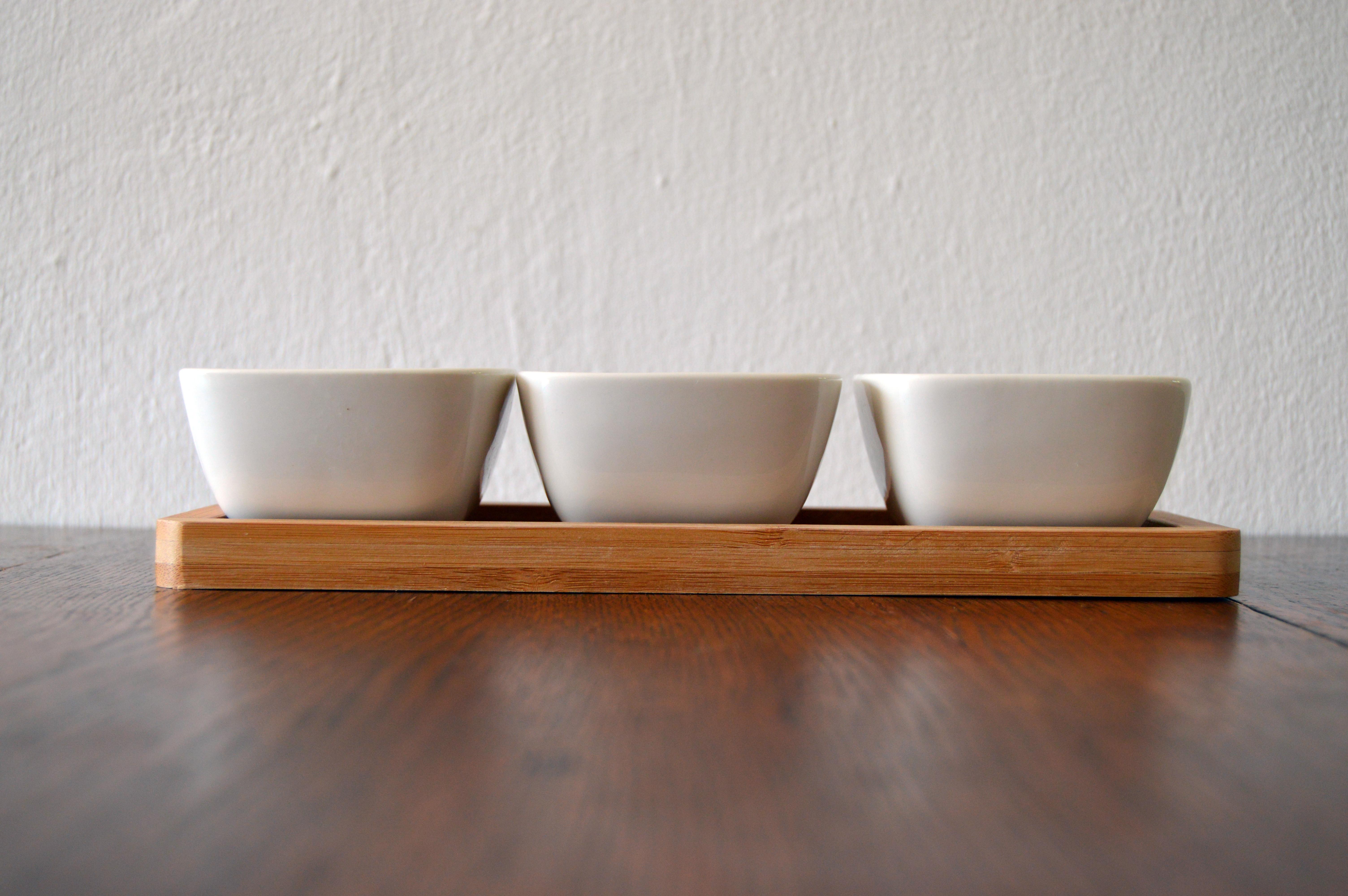 three empty bowls