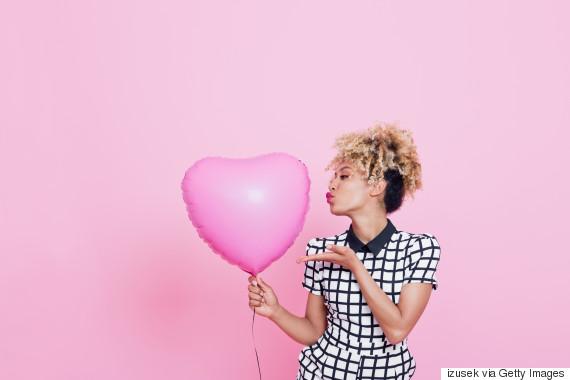 woman heart balloon