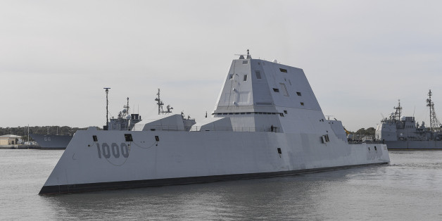 The guided-missile destroyer USS Zumwalt (DDG 1000) transits Naval Station Mayport Harbor on its way into port in Jacksonville, Florida on October 25, 2016. Crewed by 147 Sailors, Zumwalt is the lead ship of a class of next-generation destroyers designed to strengthen naval power by performing critical missions and enhancing US deterrence, power projection and sea control objectives. / AFP / US NAVY / PO2 Timothy SCHUMAKER        (Photo credit should read PO2 TIMOTHY SCHUMAKER/AFP/Getty Images)