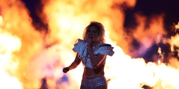 Feb 5, 2017; Houston, TX, USA; Recording artist Lady Gaga performs at halftime during Super Bowl LI between the Atlanta Falcons and the New England Patriots at NRG Stadium. Mandatory Credit: Mark J. Rebilas-USA TODAY Sports