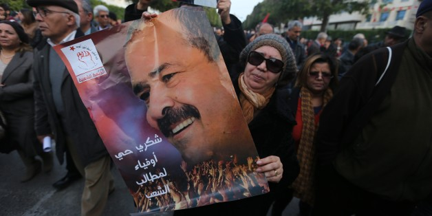 TUNIS, TUNISIA - FEBRUARY 4: Tunisians gather during the death anniversary of the Chokri Belaid as they demand from Government to unveil the mystery of his death, in Tunis, Tunisia on February 4, 2017. (Photo by Yassine Gaidi/Anadolu Agency/Getty Images)