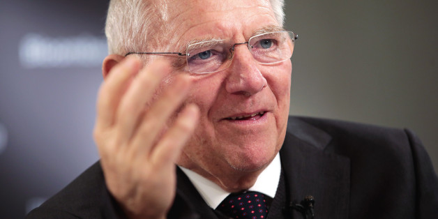 Wolfgang Schaeuble, Germany's finance minister, gestures as he speaks during a Bloomberg Television interview during the World Economic Forum (WEF) in Davos, Switzerland, on Thursday, Jan. 19, 2017. World leaders, influential executives, bankers and policy makers attend the 47th annual meeting of the World Economic Forum in Davos from Jan. 17 - 20. Photographer: Jason Alden/Bloomberg via Getty Images