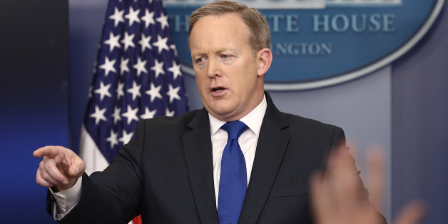 WASHINGTON, DC - FEBRUARY 01:  White House Press Secretary Sean Spicer answers questions in the White House briefing room February 1, 2017 in Washington, DC. Spicer also took questions from the 'Skype Seats' in the briefing room, an effort by the Trump administration to provide reporters outside of Washington, DC to ask questions during the briefings.  (Photo by Win McNamee/Getty Images)