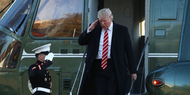WASHINGTON, DC - FEBRUARY 06:  U.S. President Donald Trump salutes a Marine  while stepping off of Marine One at the White House after spending the weekend in Florida, on February 6, 2017 in Washington, DC. Earlier in the day trump visited U.S. Central Command where he spoke to troops there.  (Photo by Mark Wilson/Getty Images)