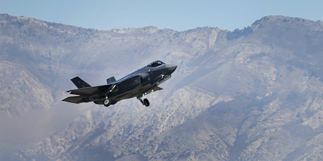 A Lockheed Martin Corp. F-35A jet flies during a training mission in Hill Air Force Base, Utah, U.S., on Friday, Oct. 21, 2016. Lockheed Martin Corp.'s accelerating revenue growth outlook is boosted by its recent portfolio moves, which are enabling the world's largest defense contractor to better capitalize on higher foreign demand. Rising F-35 production is a key driver, as deliveries are to double by 2019 vs. current levels. Photographer: George Frey/Bloomberg via Getty Images