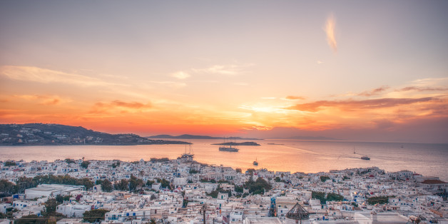 Sunset high angle view of the cityscape of Mykonos, Greece
