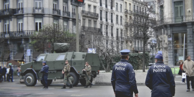 Brussels, Belgium - November 21, 2015: Police and army patrols the streets one week after Paris attacks and four months before the ISIS suicide bombings on Brussels airport.