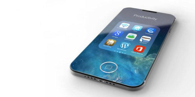 Un concept d'iPhone 7, imaginé avant la sortie de celui-ci, avec un écran intégral, par le designer Eduardo Guerrero.