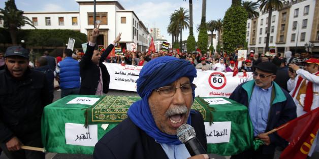 Manifestation à Rabat organisée par l'ODT pour de meilleures conditions de travail au Maroc, le 7 février 2016.