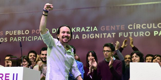 Leader of left-wing party Podemos, Pablo Iglesias takes part in a decisive two-day Party congress at Vistalegre palace in Madrid on February 11, 2017 that could unseat the charismatic leader and co-founder of one of Europe's leading far-left parties.  After months of bitter strategy divisions that have morphed into wider infighting, Podemos chief Pablo Iglesias and his deputy and former close friend, Inigo Errejon, will battle it out at a congress centre that also serves as a bullfighting ring.   / AFP / PIERRE-PHILIPPE MARCOU        (Photo credit should read PIERRE-PHILIPPE MARCOU/AFP/Getty Images)