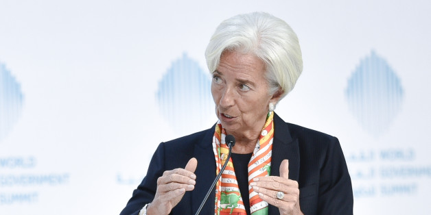 International Monetary Fund Managing Director Christine Lagarde speaks during an open discussion at the World Government Summit 2017, in Dubai's Madinat Jumeirah on February 12, 2017.  / AFP / STRINGER        (Photo credit should read STRINGER/AFP/Getty Images)
