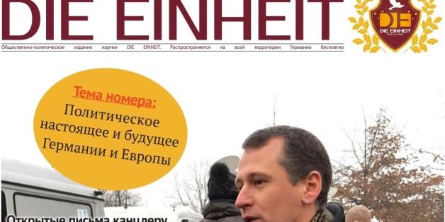 """Die Zeitung """"Die Einheit"""", herausgegeben von der gleichnamigen Partei der Russlanddeutschen"""