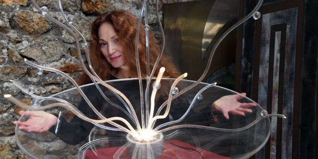 French artist Anilore Banon presents her sculpture entitled 'Vitae' that will be sent into space, by the next 'Space X' shuttle flight, on February, 10, 2017, in Paris. / AFP / ALAIN JOCARD / RESTRICTED TO EDITORIAL USE - MANDATORY MENTION OF THE ARTIST UPON PUBLICATION - TO ILLUSTRATE THE EVENT AS SPECIFIED IN THE CAPTION        (Photo credit should read ALAIN JOCARD/AFP/Getty Images)