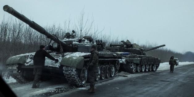 Ukrainische Panzer in der Nähe von Bakhmut im Februar 2017