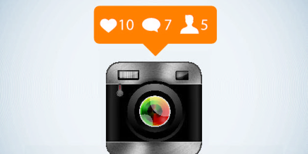 Retro camera and like counter notification icons. Eps10. Contains transparent and blending mode objects.