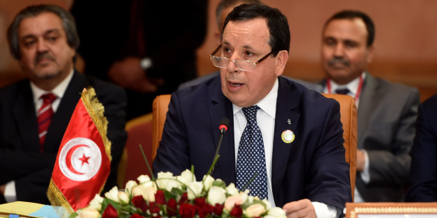 Tunisian Foreign Minister, Khemaies Jhinaoui, addresses the audience during the 34th session of the Arab Maghreb Union (UMA) Foreign Affairs Council on May 5, 2016, in the capital Tunis. / AFP / FETHI BELAID        (Photo credit should read FETHI BELAID/AFP/Getty Images)